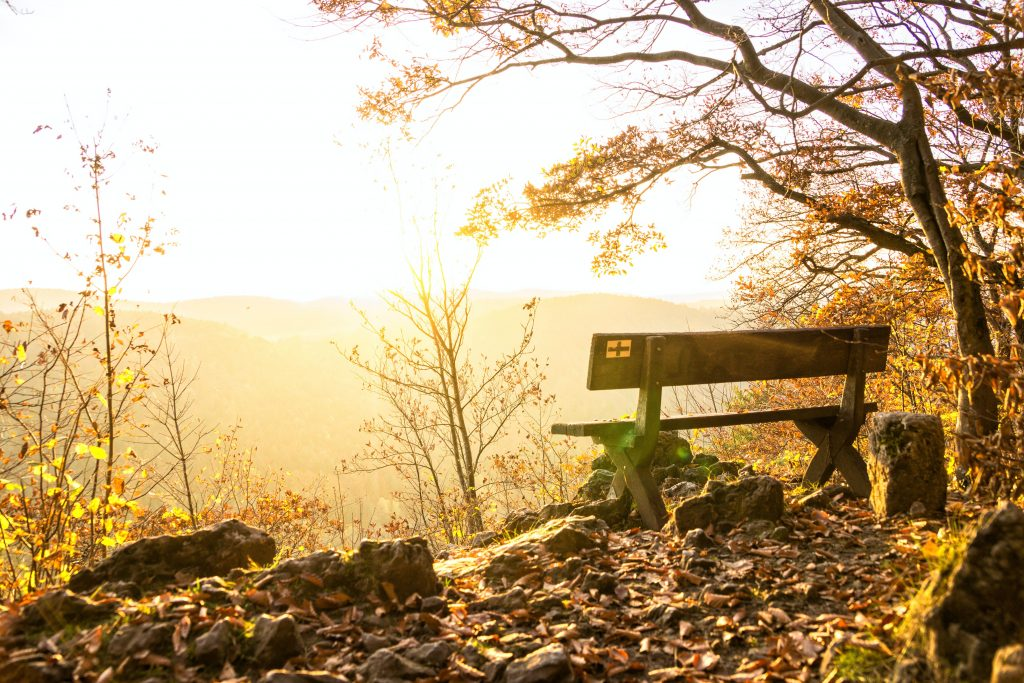 Haiku about Weather: Peaceful bench with a view